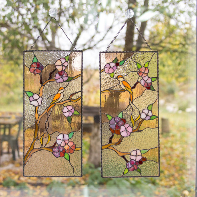 Cherry blossom stained glass panels for home decoration