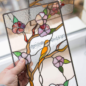 Zoomed stained glass cherry blossom panel window or wall hanging