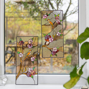 Stained glass panels with cherry blossom pattern