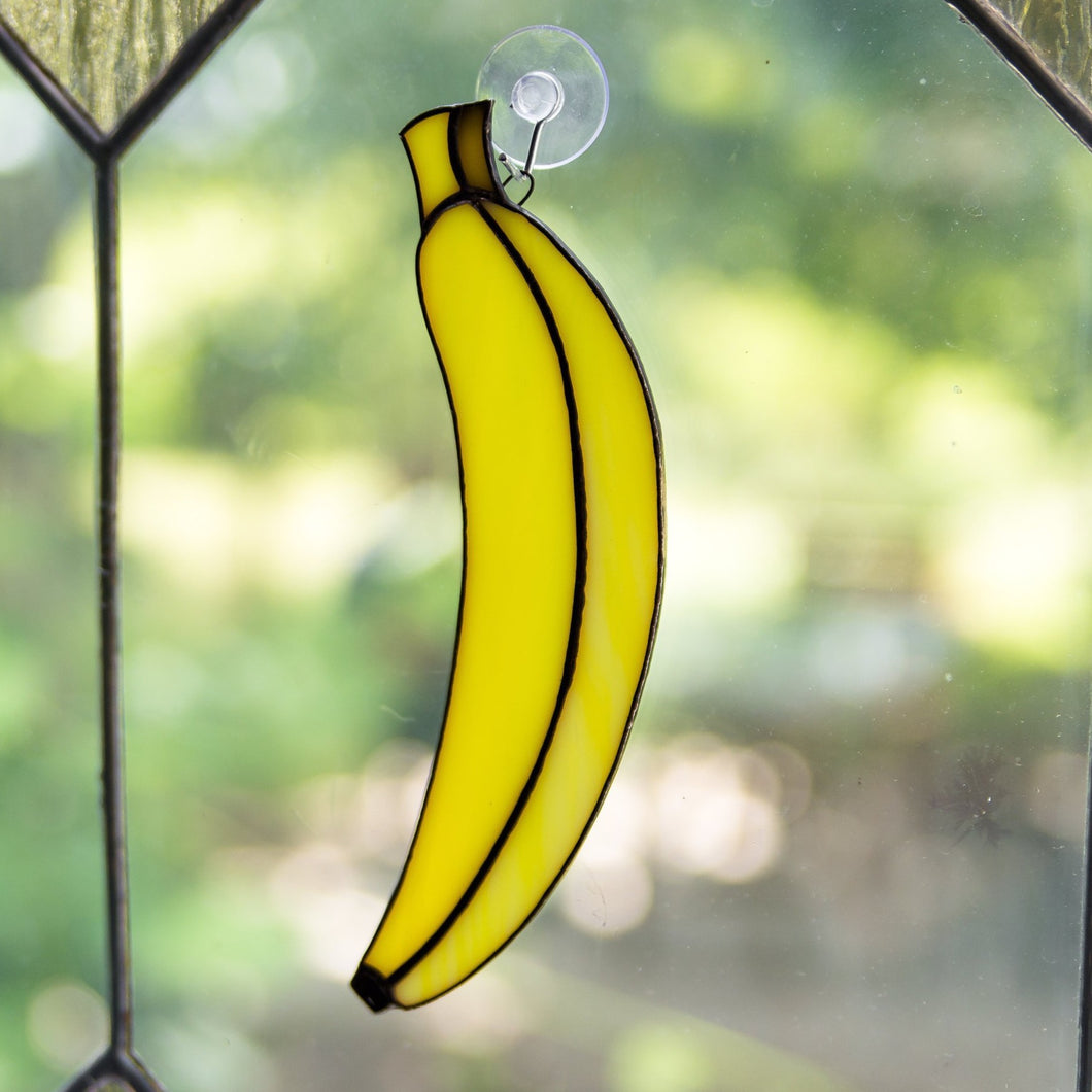 Stained glass banana suncatcher