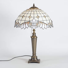 Load image into Gallery viewer, Stained glass beige Tiffany lamp with beveled inserts