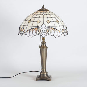 Stained glass beige Tiffany lamp with beveled inserts