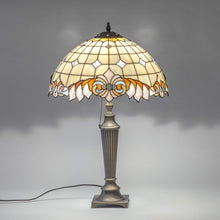 Load image into Gallery viewer, Lit stained glass classic Tiffany lamp with beige inserts