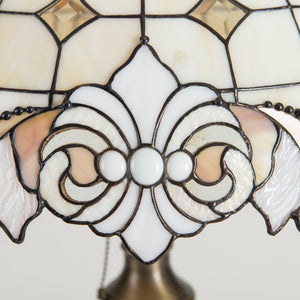 Zoomed stained glass details of classic Tiffany lamp