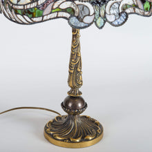 Load image into Gallery viewer, Bronze engraved base of Tiffany green stained glass lamp
