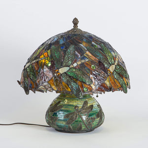 Colourful mosaic stained glass lamp depicting dragonflies