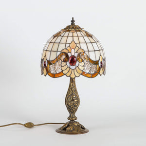 Small bedside stained glass Tiffany lamp in beige shades