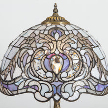 Load image into Gallery viewer, Zoomed stained glass Tiffany lampshade with purple markings and beveled inserts