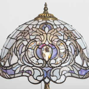 Zoomed stained glass Tiffany lampshade with purple markings and beveled inserts