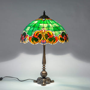 Green Tiffany stained glass lampshade
