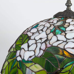 Zoomed stained glass green and white lamp shade