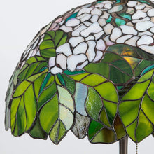 Load image into Gallery viewer, Zoomed green and white Tiffany lampshade of stained glass