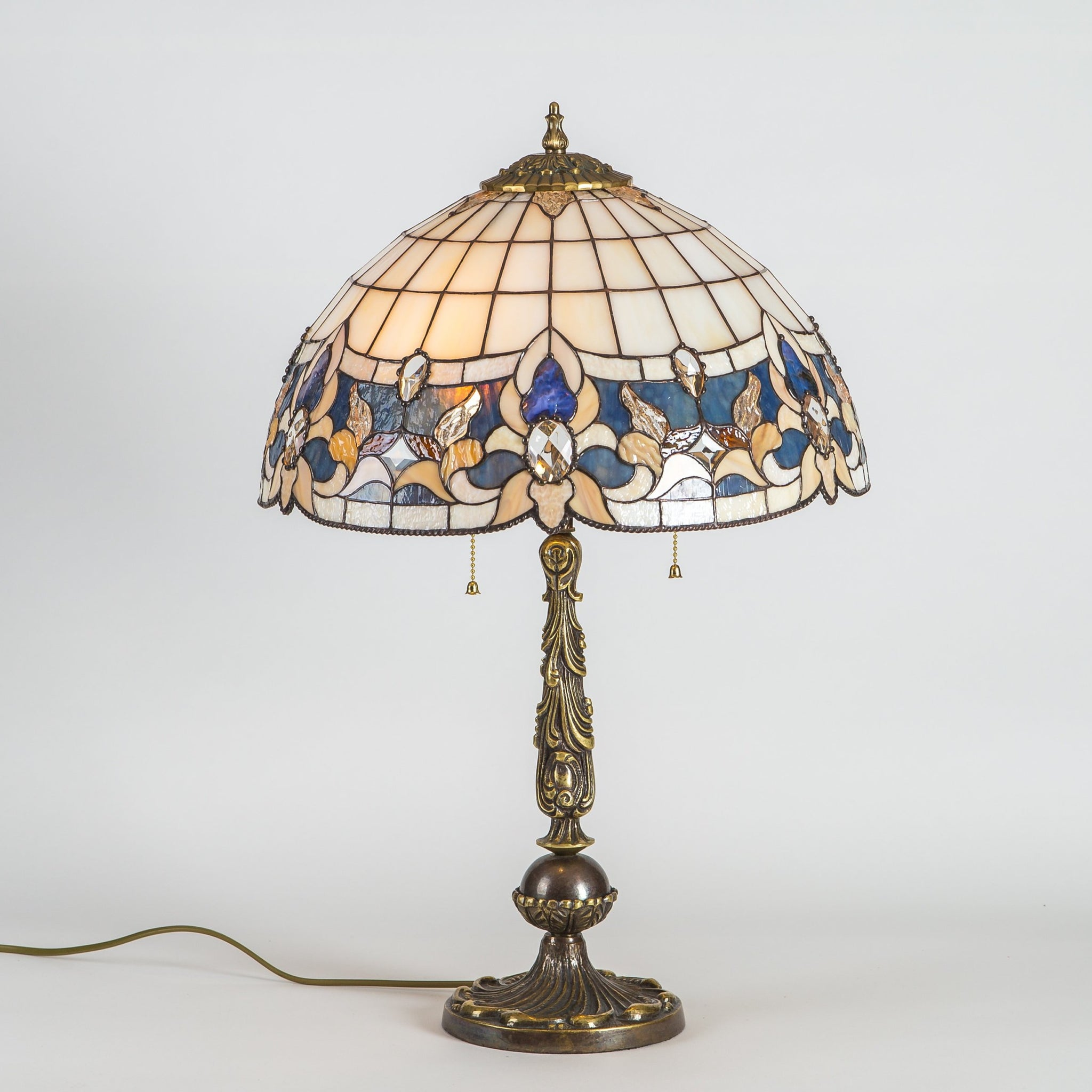 Beige Stained Glass Tiffany Lamp With Blue Inserts