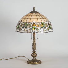 Load image into Gallery viewer, Stained glass Tiffany lamp of beige and green colours for home decor