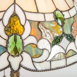 Zoomed stained glass lamp shade with green inserted gems