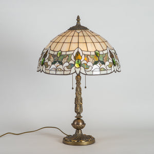 Stained glass Tiffany lamp in green and beige shades