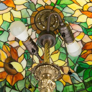 Stained glass sunflower lampshade from the inside
