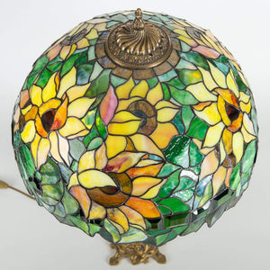 Top view of stained glass lampshade with sunflowers