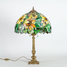 Load image into Gallery viewer, Stained glass sunflower lamp with bronze base for home decor