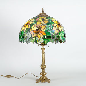 Stained glass sunflower lamp with bronze base for home decor