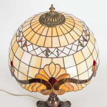 Load image into Gallery viewer, Top view of stained glass beige Tiffany lampshade with red inserted markings