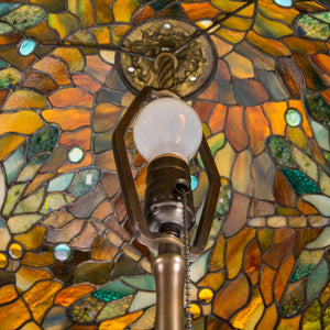 Stained glass dragonfly Tiffany lamp shade from the inside