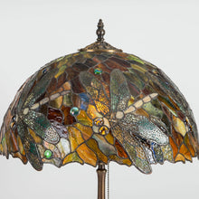 Load image into Gallery viewer, Zoomed stained glass lamp shade with dragonflies