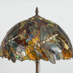 Zoomed stained glass lamp shade with dragonflies