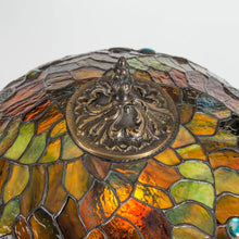 Load image into Gallery viewer, The engraving on top of stained glass dragonfly lamp