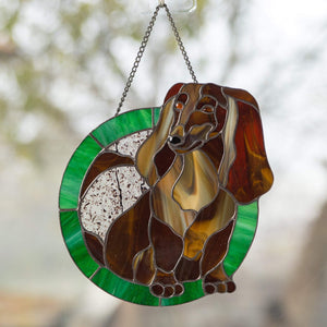 Stained glass panel depicting Dachshund for window decor