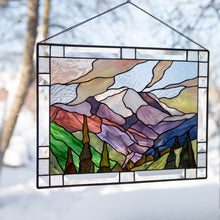 Load image into Gallery viewer, Stained glass window hangings Mount Rainier National park custom stained glass panel mom gift