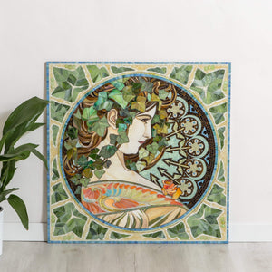 Stained glass mosaic wall art Art Nouveau wall art Alphonse Mucha Laurel 3rd anniversary gift custom portrait from photo