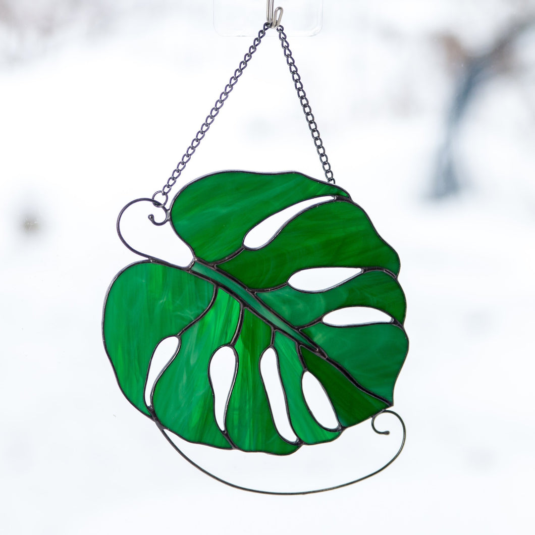 Stained glass monstera leaf window hanging