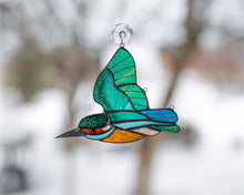 Load image into Gallery viewer, Flying kingfisher stained glass suncatcher