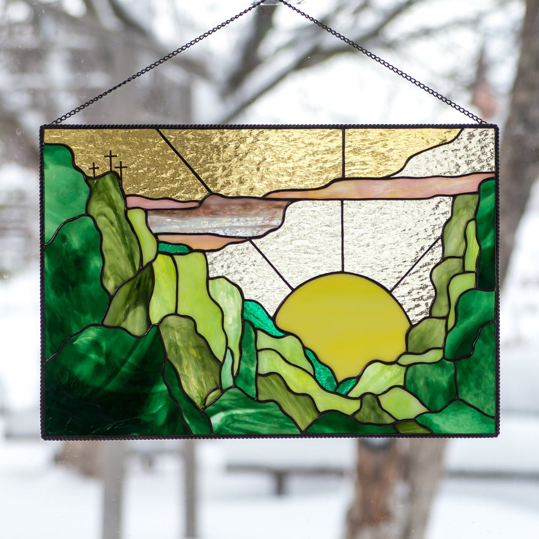 Stained glass panel depicting sunset and forest for window decoration