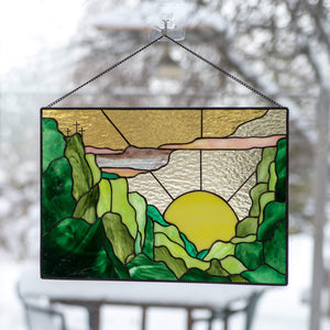 Mountain stained glass panel / Custom stained glass window hangings gift for housewarming, anniversary, birthday