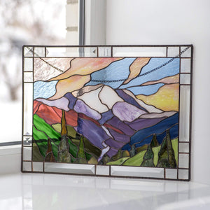 Mount Rainier national park panel of stained glass for window