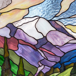 Zoomed stained glass panel of mount Rainier national park