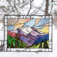 Load image into Gallery viewer, Stained glass panel depicting Mount Rainier national park for home decoration