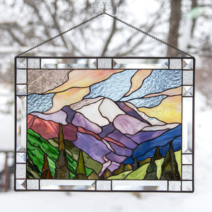 Stained glass panel depicting Mount Rainier national park for home decoration