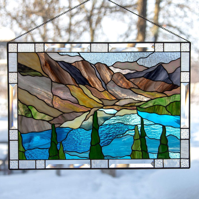 Stained glass Banff national park with waters and mountains panel