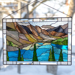 Stained glass Banff national park panel for window