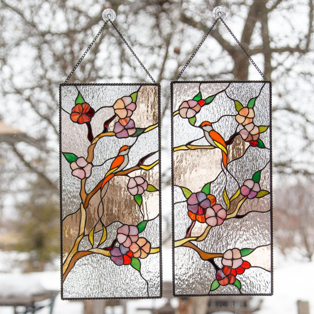 Handcrafted stained glass panels - cherry blossom trees with birds