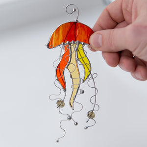 Jellyfish stained glass window hangings father daughter gift Custom stained glass suncatcher