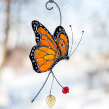 Load image into Gallery viewer, Stained glass monarch butterfly side view suncatcher