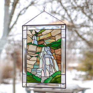 Waterfall stained glass panel gift for mom Custom stained glass window hangings mountain wall decor