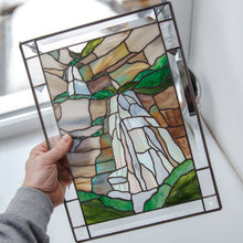 Load image into Gallery viewer, Bridal Veil Falls panel of stained glass for window