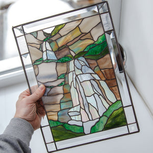 Bridal Veil Falls panel of stained glass for window