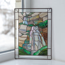 Load image into Gallery viewer, Waterfall stained glass panel gift for mom Custom stained glass window hangings mountain wall decor