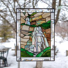 Load image into Gallery viewer, Stained glass panel depicting Bridal Veil Falls in Utah with its cliffs
